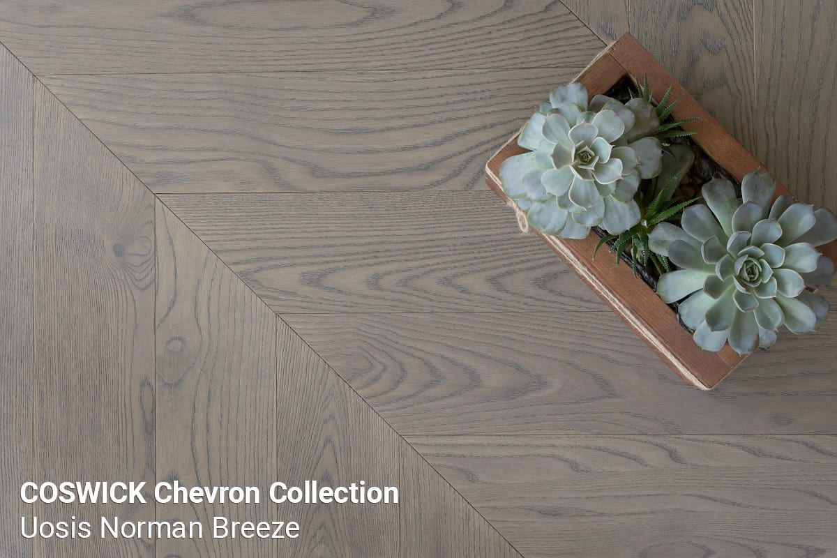Parketas COSWICK Chevron Collection Uosis Norman Breeze